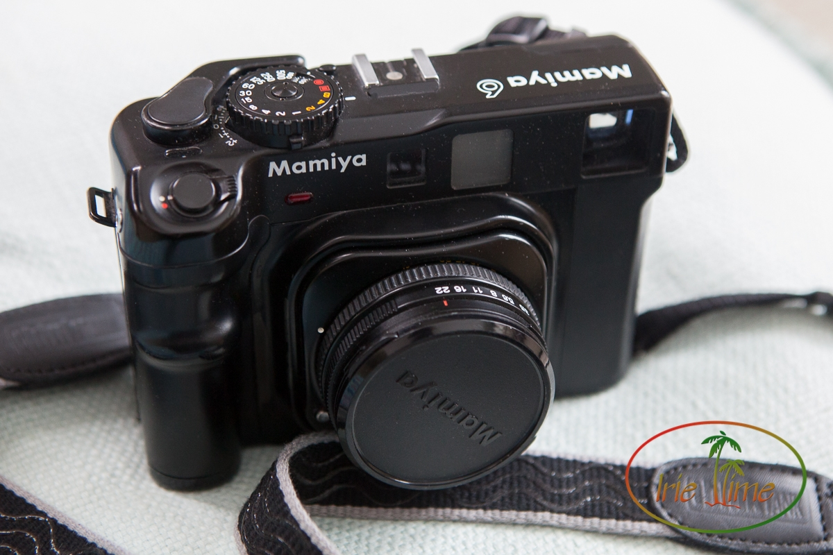 Mamiya 6 with 75mm f/3.5 lens, bellows retracted